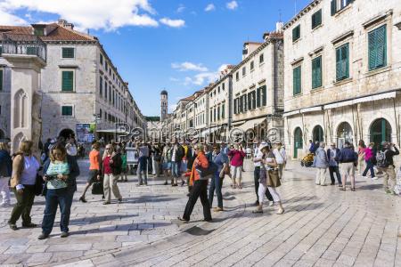 croatia dubrovnik tourist at main street