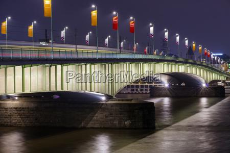 germany cologne deutz bridge at night