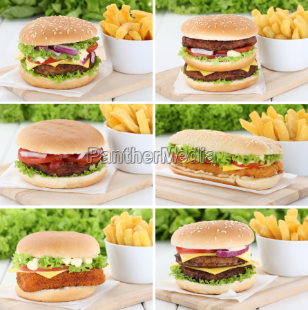 hamburger collection collage cheeseburger with french