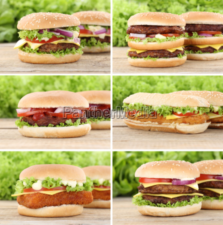 hamburger sammlung collage cheeseburger frischer burger
