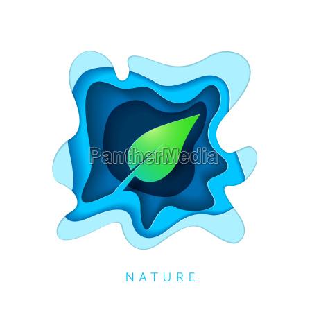 paper art style leaf