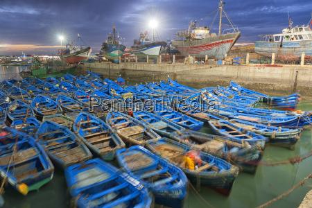 morocco essaouira blue fishing boats in