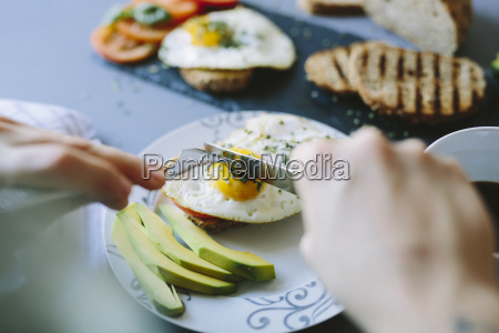 breakfast with eggs avocado bread and