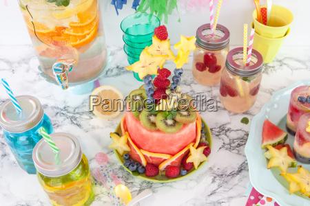colorful cake of fresh fruit