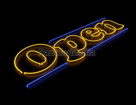 open neon sign isolated on black