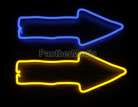 3d render arrows neon sign isolated