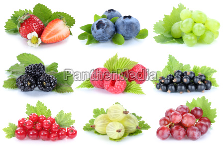 collection berries fruit grapes grapes strawberries