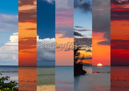 collage von seeschichten in sonnenuntergang zeit