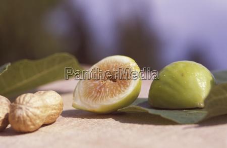 sliced fig and peanut close up