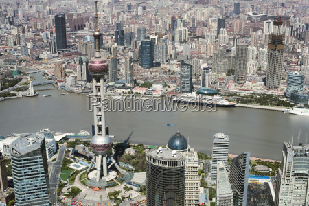 panoramic aerial view of downtown shanghai