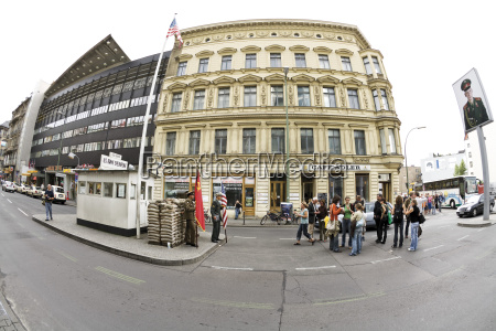 germany berlin checkpoint charlie fish eye