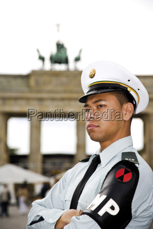germany berlin american soldier in front