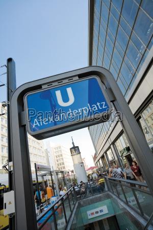 germany berlin subway sign alexanderplatz