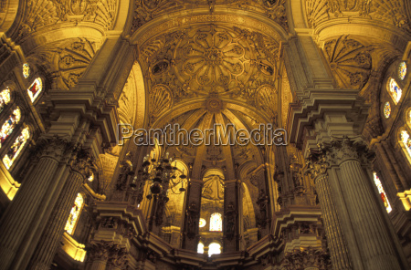 interior of cathedral in malaga spain