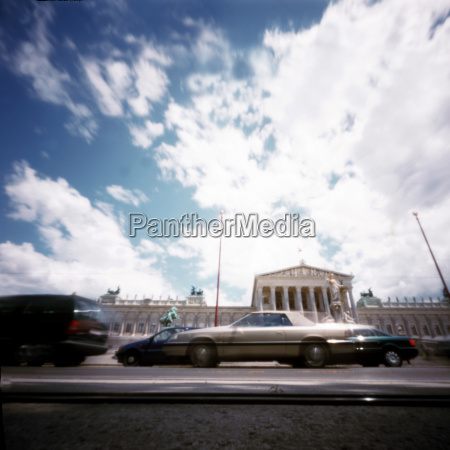 austria vienna parliament building car traffic