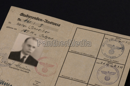 germany old student passport close up
