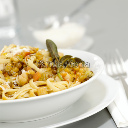 pasta with lentils close up