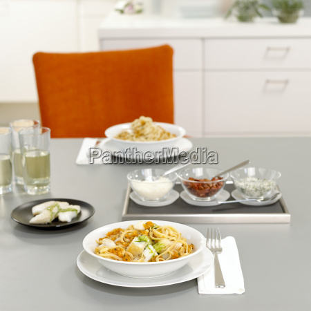 lunch for two pasta with papaya