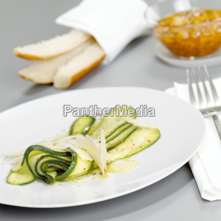 zucchini salad with parmesan close up