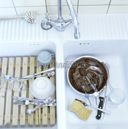 used dishes in kitchen sink elevated