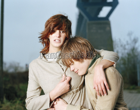 young couple embracing portrait
