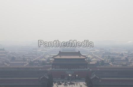 china beijing misty forbidden city