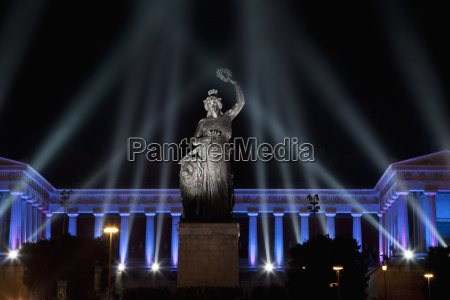 germany bavaria munich illuminated bavaria statue
