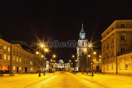 poland warsaw krakowskie przedmiescie street at