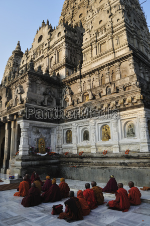 asia india bihar monks sitting outside