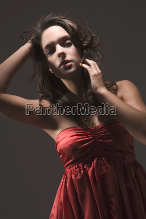 young woman wearing evening gown portrait