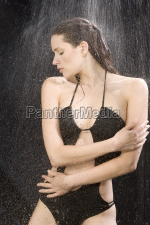young woman in swimsuit having a