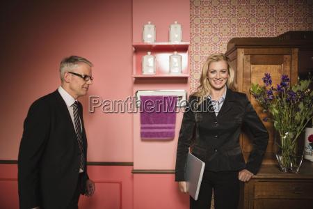 germany stuttgart businessman and woman standing