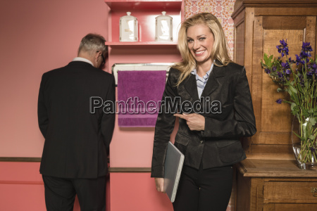 germany stuttgart businessman and woman in