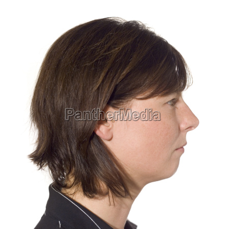 young woman portrait side view