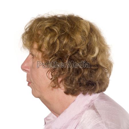 senior woman portrait side view