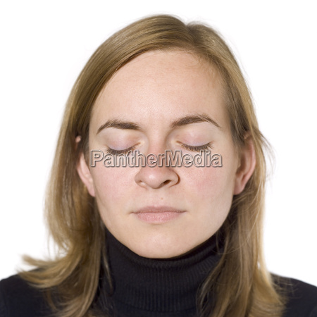 young woman eyes closed portrait