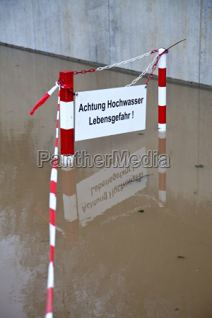 germany wuerzburg warning sign in flood