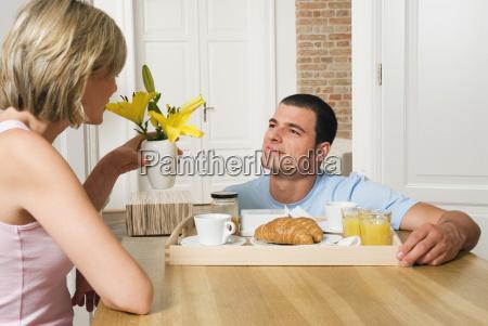 man serving breakfast close up