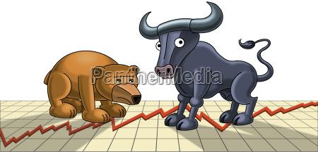 illustration bull and bear figurines