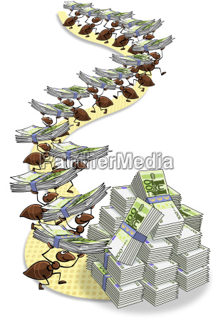 illustration ants carrying banknotes