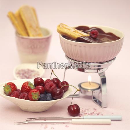 sponge fingers with chocolate fondue and