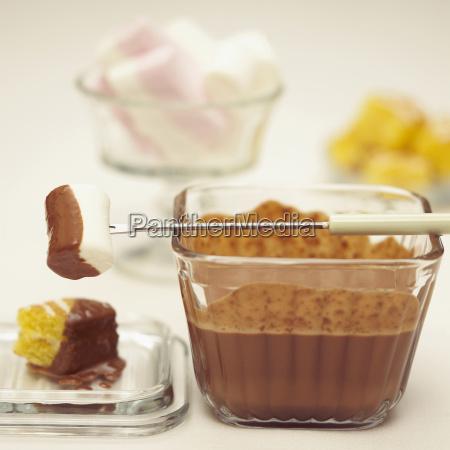 chocolate fondue with marshmallows