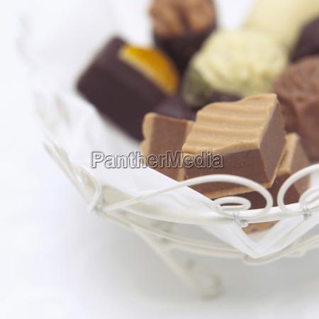 assorted chocolates close up