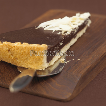 piece of chocolate tart close up