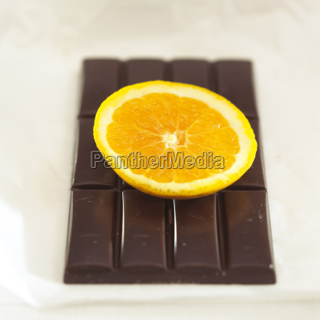 chocolate with orange flavour close up
