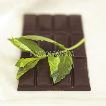 chocolate with peppermint flavour close up