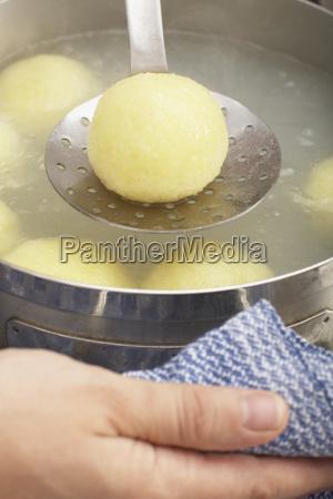 potato dumpling on a skimmer close
