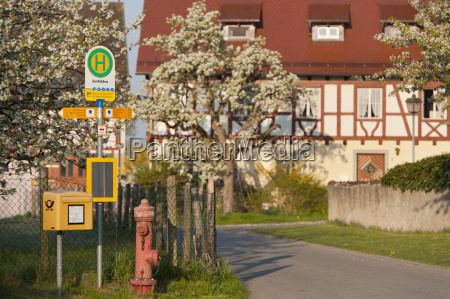 germany view of busstop with framehouse