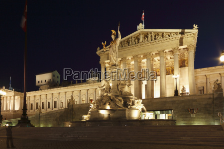 austria vienna parliament building and statue