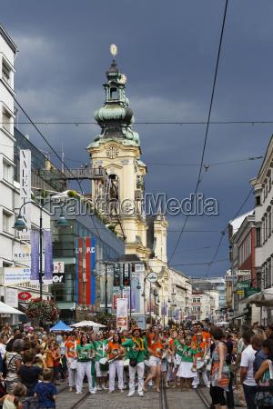 austria upper austria linz people celebrating